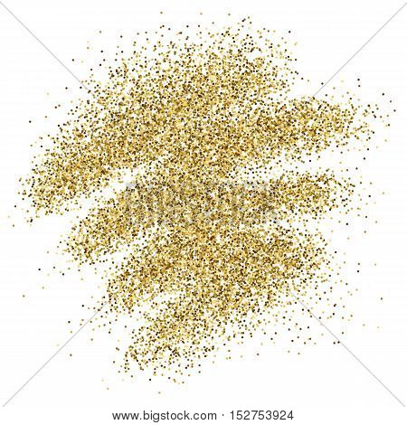 Gold glitter sparkles background for greeting card, poster, banner, website, header, certificate. Abstract background of golden smear for text.