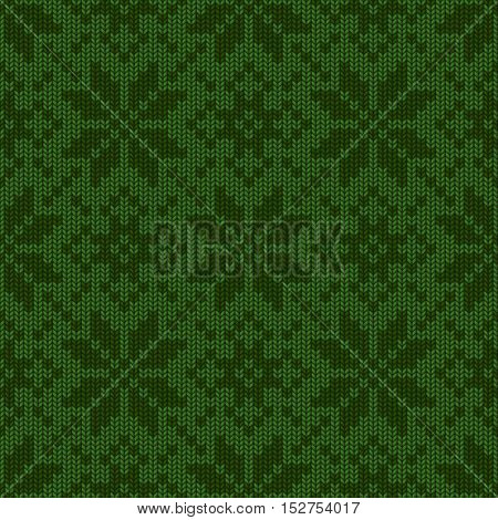 Vector illustration of Winter Holiday knitted seamless pattern. Scandinavian style knitted ornaments.