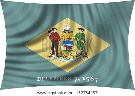 Flag of the US state of Delaware. American patriotic element. USA banner. United States of America symbol. Delawarean official flag waving isolated on white 3d illustration