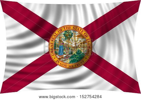 Flag of the US state of Florida. American patriotic element. USA banner. United States of America symbol. Floridian official flag waving isolated on white 3d illustration