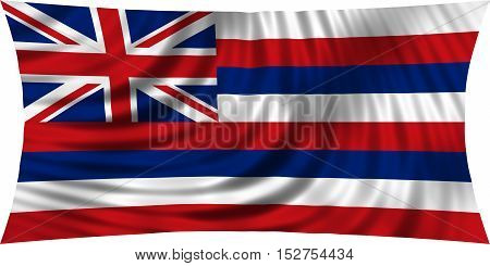 Flag of the US state of Hawaii. American patriotic element. USA banner. United States of America symbol. Hawaiian official flag waving isolated on white 3d illustration