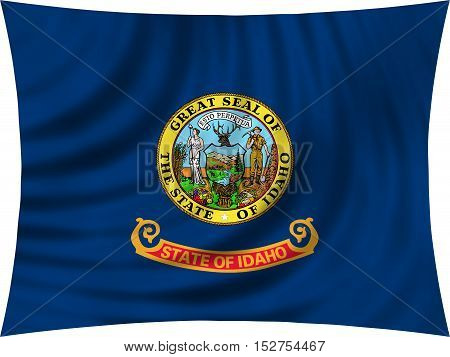 Flag of the US state of Idaho. American patriotic element. USA banner. United States of America symbol. Idahoan official flag waving isolated on white 3d illustration