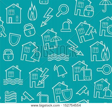 Security of housing and office buildings, background, seamless, blue-green. Vector background with white contour drawings on turquoise field. Protection of residential and office space.