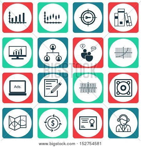 Set Of 16 Universal Editable Icons For Statistics, Computer Hardware And Airport Topics. Includes Ic