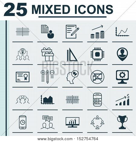 Set Of 25 Universal Editable Icons For Marketing, Computer Hardware And Project Management Topics. I