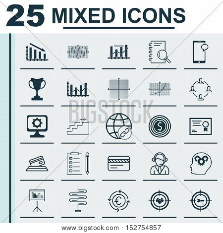 Set Of 25 Universal Editable Icons For Statistics, Airport And Marketing Topics. Includes Icons Such
