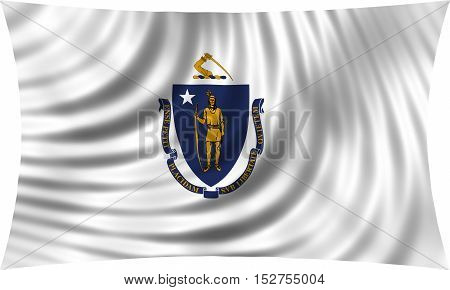 Flag of the US state of Massachusetts. American patriotic element. USA banner. United States of America symbol. Massachusettsan official flag waving isolated on white 3d illustration