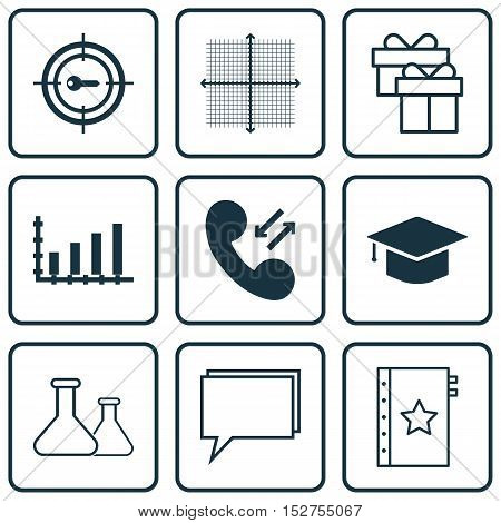 Set Of 9 Universal Editable Icons For Airport, Education And Seo Topics. Includes Icons Such As Pres