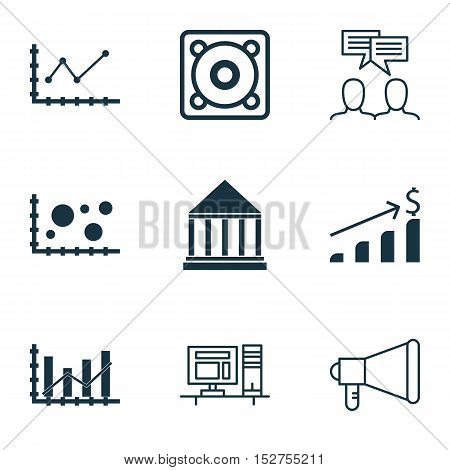 Set Of 9 Universal Editable Icons For Project Management, Education And Computer Hardware Topics. In