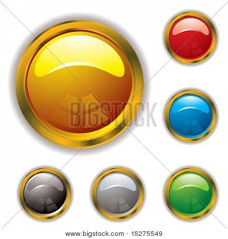Kreisförmige Gel gefüllt Ikonen mit gold Abschrägung und Schlagschatten