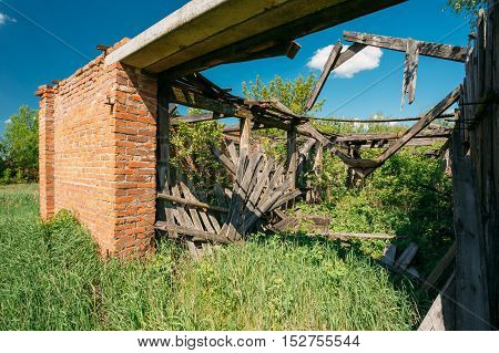Close The Abandoned Ruined Private House In Evacuated Rural Zone After Chernobyl Tragedy. Terrible Consequences Of The Nuclear Diontamination.