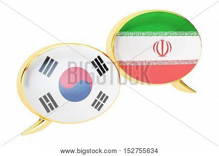 Speech bubbles Korean-Iranian translation concept. 3D rendering