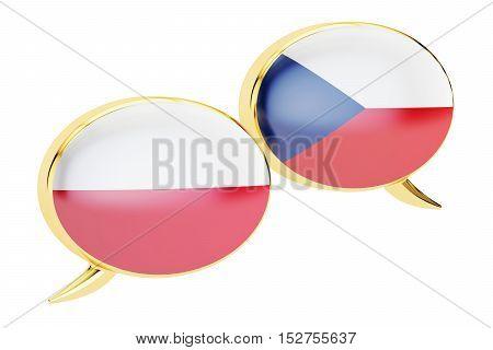 Speech bubbles Polish-Czech translation concept. 3D rendering