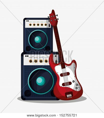 Speaker and guitar icon. Music sound musical and communication theme. Colorful design. Vector illustration