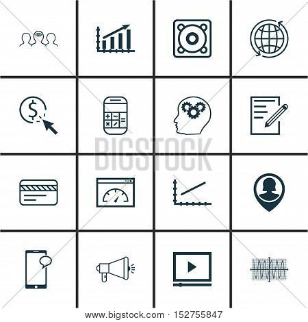 Set Of 16 Universal Editable Icons For Business Management, Seo And Computer Hardware Topics. Includ