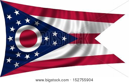 Flag of the US state of Ohio. American patriotic element. USA banner. United States of America symbol. Ohioan official flag waving isolated on white 3d illustration