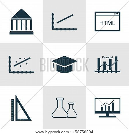 Set Of 9 Universal Editable Icons For Marketing, Education And Advertising Topics. Includes Icons Su