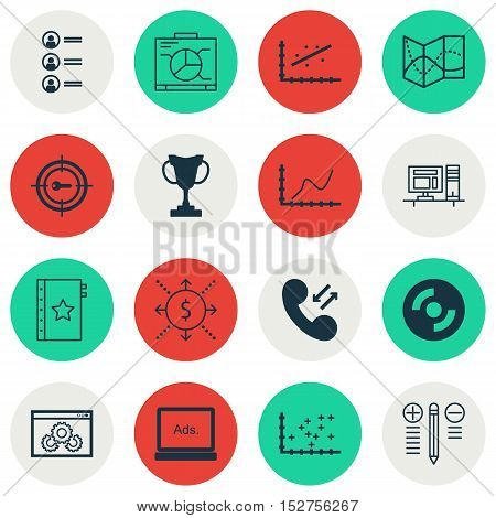 Set Of 16 Universal Editable Icons For Human Resources, Project Management And Computer Hardware Top