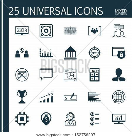 Set Of 25 Universal Editable Icons For Computer Hardware, Education And Seo Topics. Includes Icons S