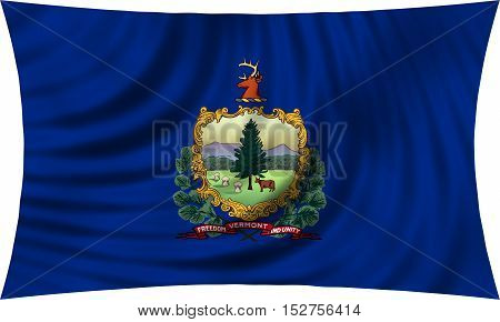 Flag of the US state of Vermont. American patriotic element. USA banner. United States of America symbol. Vermonter official flag waving isolated on white 3d illustration