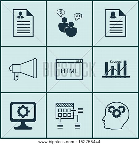 Set Of 9 Universal Editable Icons For Advertising, Computer Hardware And Marketing Topics. Includes