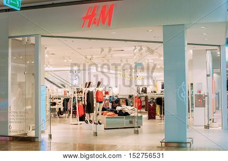 Vilnius, Lithuania - July 08, 2016: The Enterance To H M Store With Summer Collection Of Female Casual Wear Displayed At Acropolis Shopping Mall.