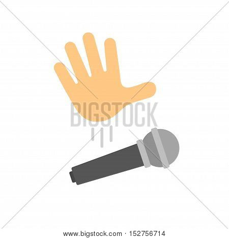 Mic drop illustration. Cartoon hand dropping microphone simple modern icon.
