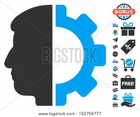 Android Head pictograph with free bonus pictograms. Vector illustration style is flat iconic symbols, blue and gray colors, white background.