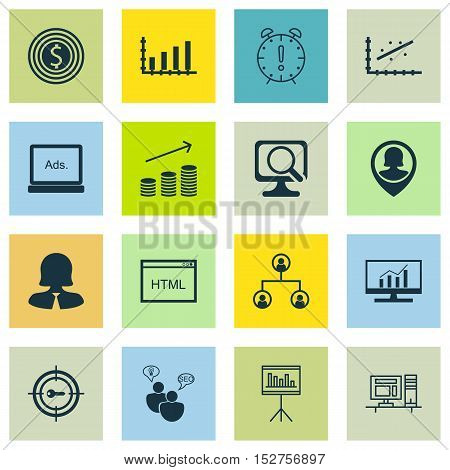 Set Of 16 Universal Editable Icons For Seo, Advertising And Project Management Topics. Includes Icon