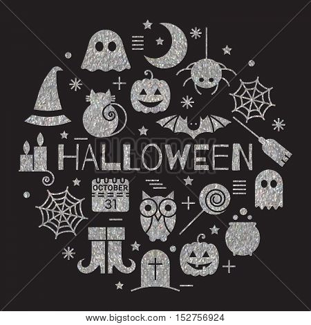 Halloween silver icons set in circle shape on black background. Bright design concept for festive banner, greeting and invitation card, flyer, tag, poster, postcard, advertisement. Vector illustration
