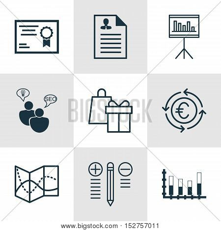 Set Of 9 Universal Editable Icons For Airport, Education And Human Resources Topics. Includes Icons
