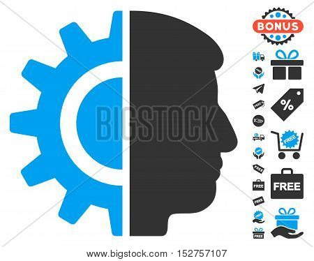 Android Robotics icon with free bonus pictograms. Vector illustration style is flat iconic symbols, blue and gray colors, white background.