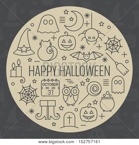 Halloween icons set in circle shape with editable stroke. Design concept for festive banner, greeting and invitation card, flyer, tag, label, poster, postcard, advertisement. Vector illustration.