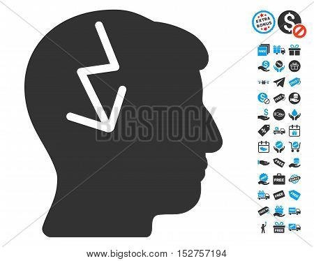 Brain Electric Strike pictograph with free bonus pictures. Vector illustration style is flat iconic symbols, blue and gray colors, white background.