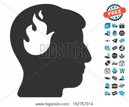 Brain Fire icon with free bonus pictograph collection. Vector illustration style is flat iconic symbols, blue and gray colors, white background.