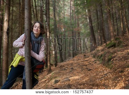 Girl In The Forest. Adventure, Travel, Tourism, Hike.