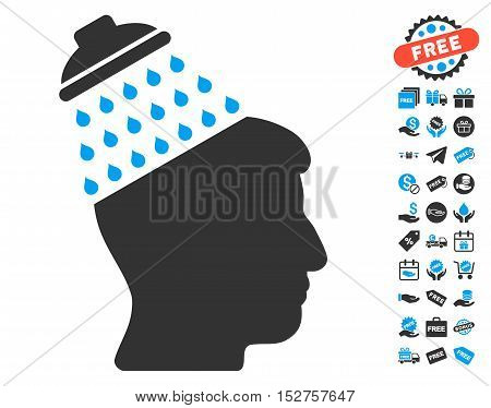 Brain Shower icon with free bonus clip art. Vector illustration style is flat iconic symbols, blue and gray colors, white background.