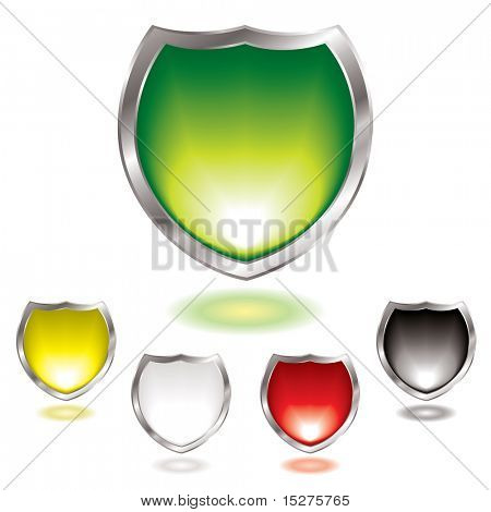 Five gel filled shields with silver bevel with outer glow