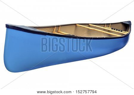 blue tandem canoe with wood seats isolated on white with a clipping path