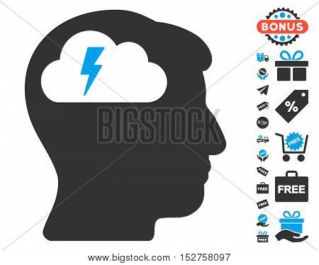Brainstorming icon with free bonus pictures. Vector illustration style is flat iconic symbols, blue and gray colors, white background.