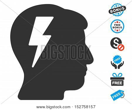 Brainstorming pictograph with free bonus pictures. Vector illustration style is flat iconic symbols, blue and gray colors, white background.