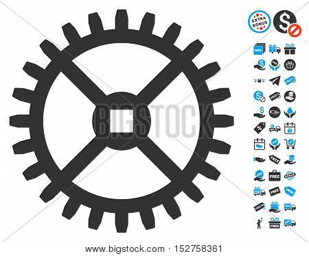 Clock Gear pictograph with free bonus pictograph collection. Vector illustration style is flat iconic symbols, blue and gray colors, white background.