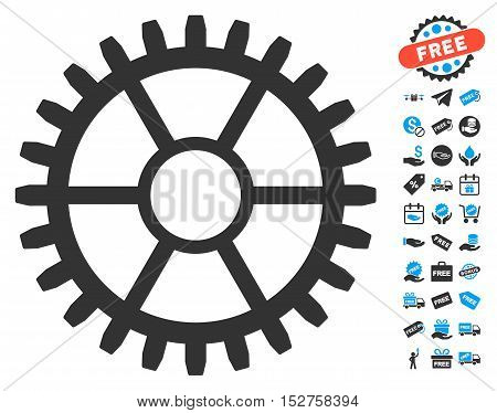Clock Wheel pictograph with free bonus pictures. Vector illustration style is flat iconic symbols, blue and gray colors, white background.
