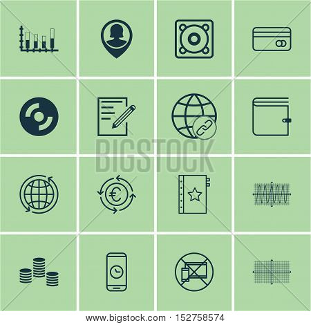 Set Of 16 Universal Editable Icons For Statistics, Seo And Airport Topics. Includes Icons Such As Co