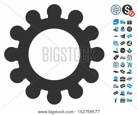 Cog icon with free bonus images. Vector illustration style is flat iconic symbols, blue and gray colors, white background.