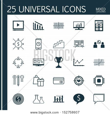 Set Of 25 Universal Editable Icons For Education, Statistics And Airport Topics. Includes Icons Such