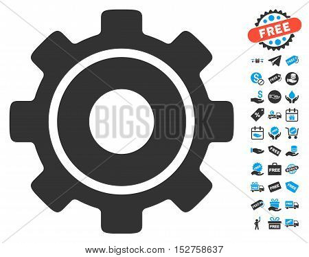 Cog pictograph with free bonus pictograph collection. Vector illustration style is flat iconic symbols, blue and gray colors, white background.