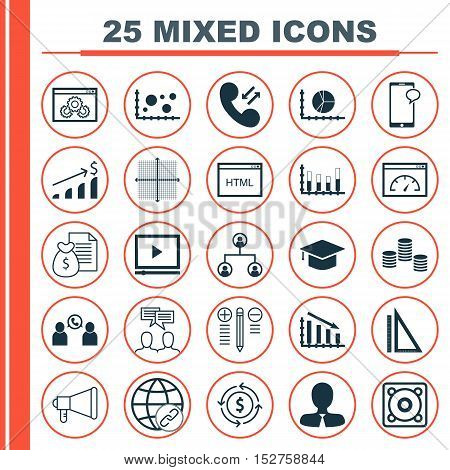 Set Of 25 Universal Editable Icons For Advertising, Human Resources And Computer Hardware Topics. In