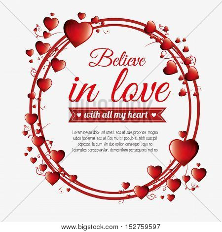greeting valenties day believe in love red hearts vector illustration eps 10