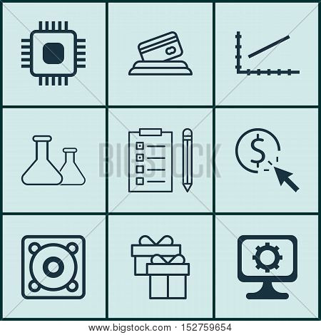 Set Of 9 Universal Editable Icons For Airport, Computer Hardware And Project Management Topics. Incl